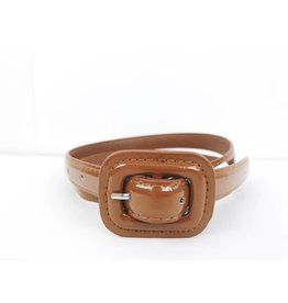 Slim Patent Finish Belt - Brown