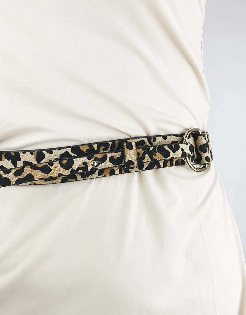 Faux Leather Belt with Chain - Leopard