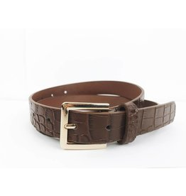 Faux Leather Croc Print Belt - Brown