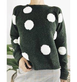 Crewneck Sweater with Plush Dot Detail