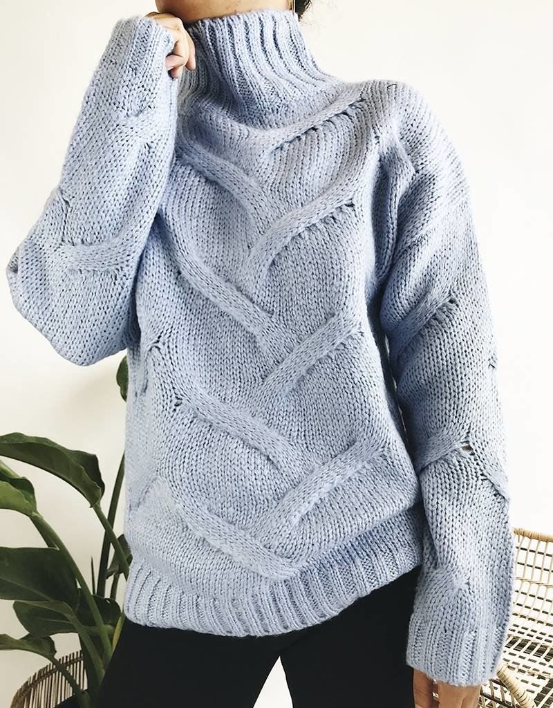 Oversized Twisted Knit Turtleneck Sweater