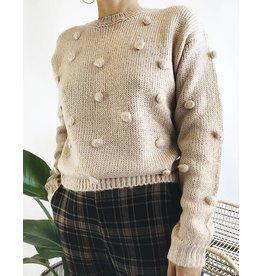 Crewneck Sweater with Small Pom-Pom Detail