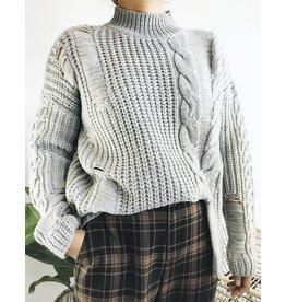 Mixed Knit Turtleneck Sweater
