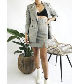 High Waisted Plaid Skirt with Side Slit