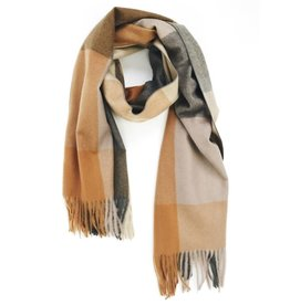 Soft Cashmere Check Scarf with Tassels - Mustard Yellow