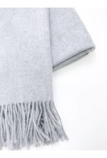 Soft Long Woven Scarf with Tassels - Blue