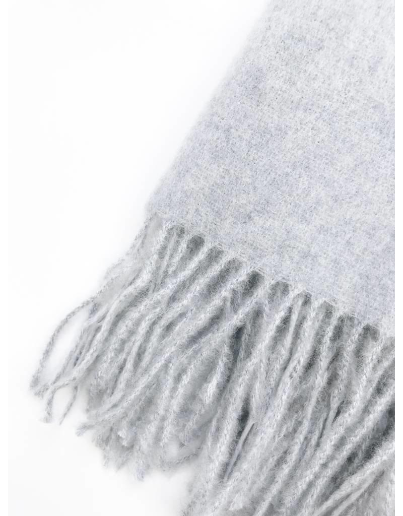 Écharpe douce tissée à franges - Bleu