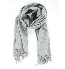 Soft Long Woven Scarf with Tassels - Grey