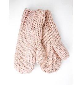 Moufles en tricot épais avec doublure en peluche - Rose