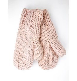 Soft Knitted Mittens with Plush Lining - Blush