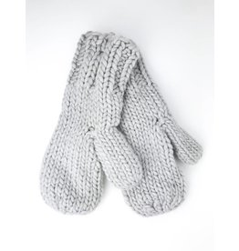 Soft Knitted Mittens with Plush Lining - Grey