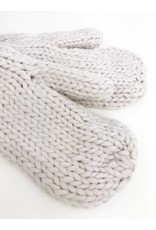 Soft Knitted Mittens with Plush Lining - Ivory