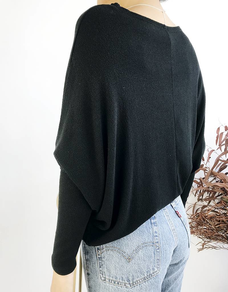 Oversized Knit Sweater with Bat Sleeves