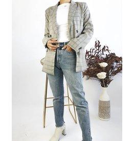 Veste mi-longue à carreaux avec double boutonnage