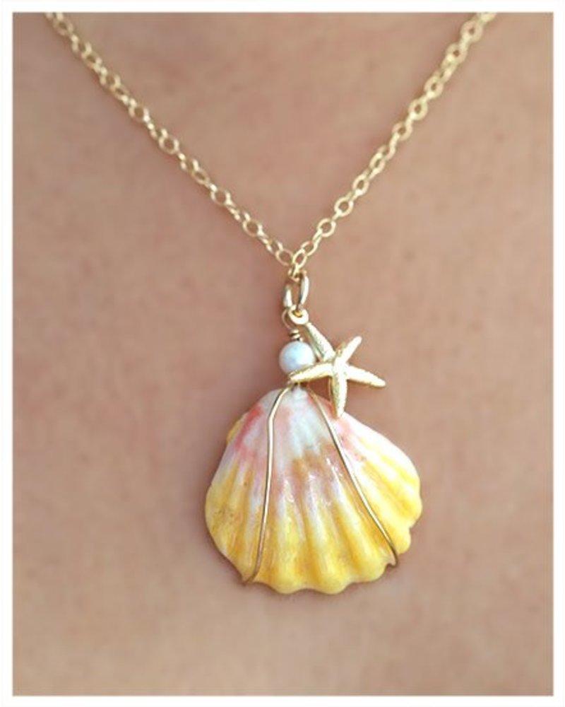 HI ASHLEY MALIA  Sunrise Shell w/ Starfish 18in Necklace