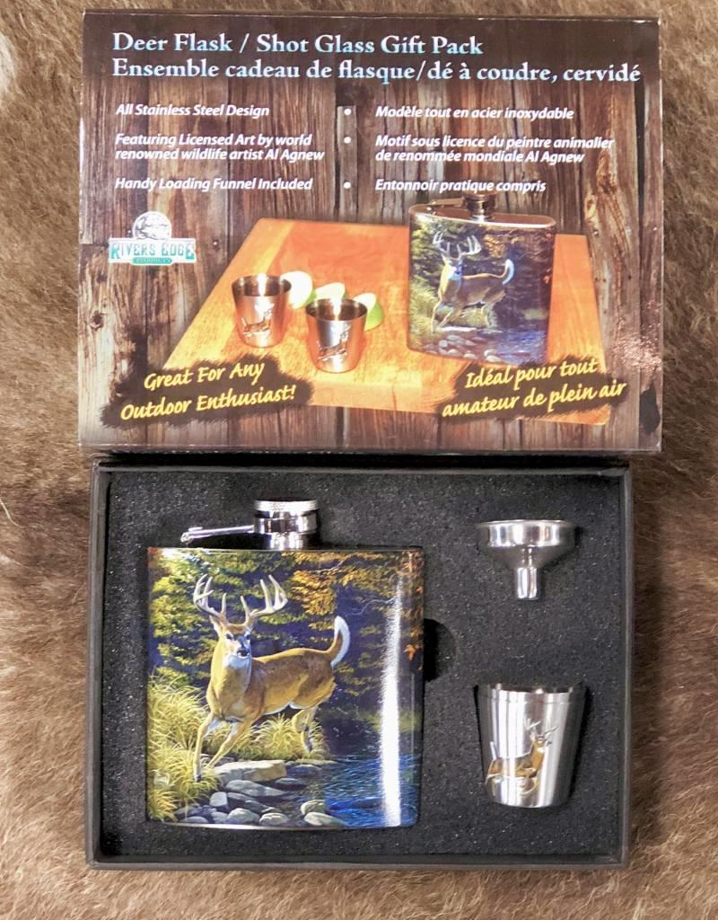 FLASK SET SHOT GLASSES