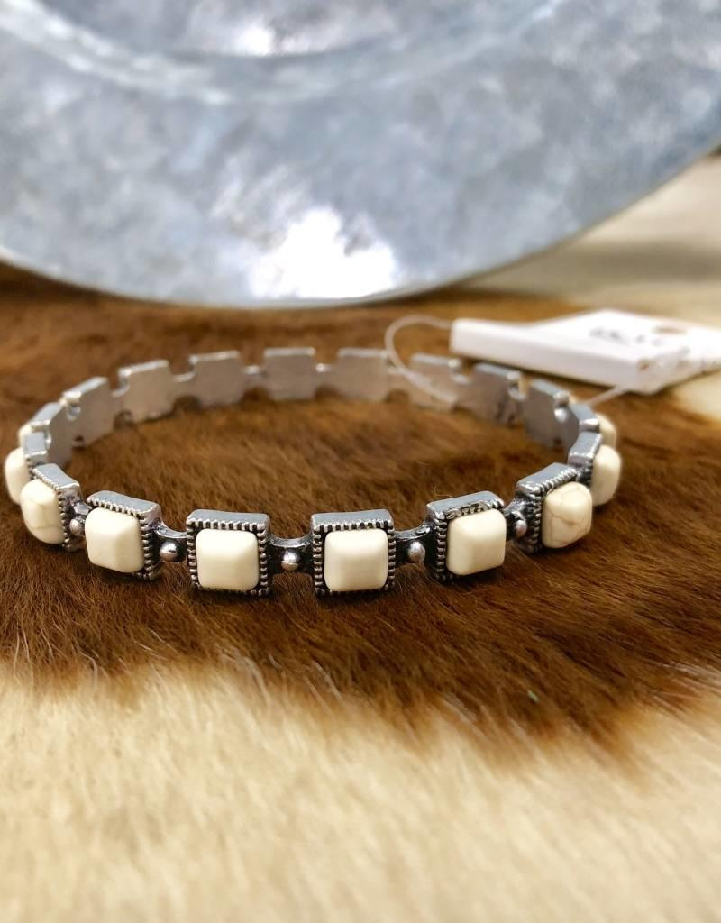 BRACELET WHITE SQUARE STONE BANGLE