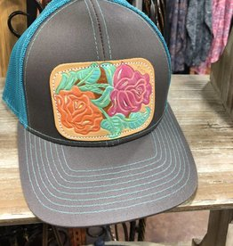 CHARCOAL/TEAL NEW ROSES HAT CAP MESH SNAP BACK LEATHER PATCH HAND PAINTED TOOLED