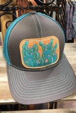 CHARCOAL/TEAL BLUE CACTUS HAT LEATHER PATCH HAND PAINTED MCINTIRE SADDLERY