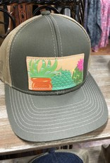 OLIVE GREEN/TAN SUCCULENTS HAT CAP LEATHER PATCH HAND PAINTED MCINTIRE SADDLERY