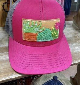 SUCCULENTS PINK/CHARCOAL CAP HAT LEATHER PATCH HAND PAINTED MCINTIRE SADDLERY