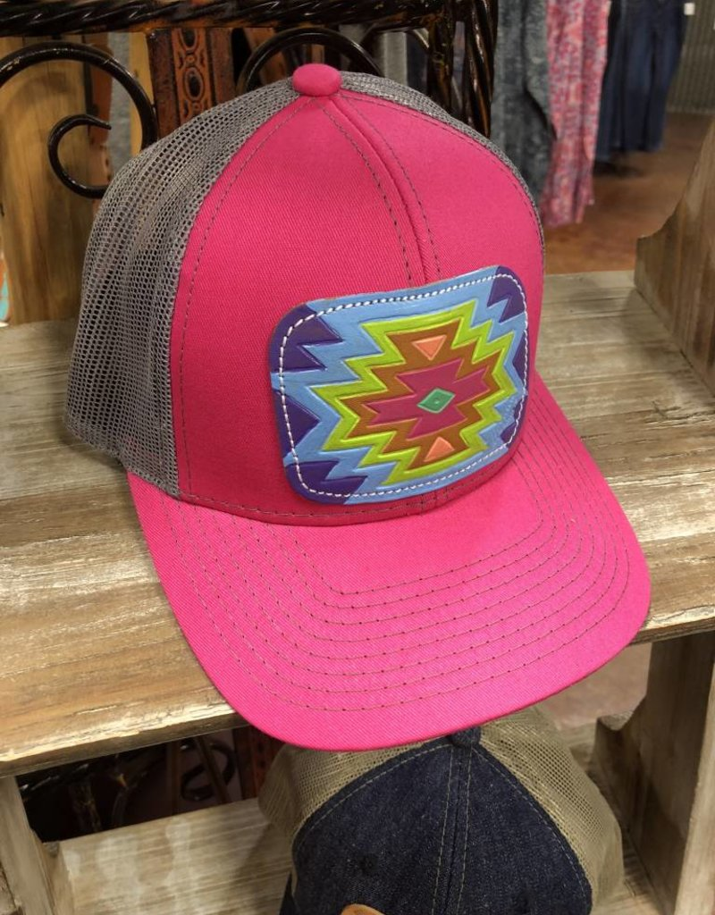 AZTEC LIGHT PINK/CHARCOAL CAP HAT LEATHER PATCH HAND PAINTED MCINTIRE SADDLERY