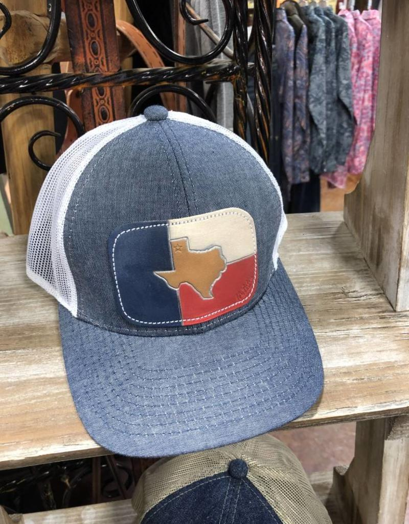 TEXAS CHAMBRAY CAP HAT LEATHER PATCH HAND PAINTED MCINTIRE SADDLERY
