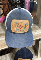 FIESTA CHAMBRAY CAP HAT LEATHER PATCH HAND PAINTED MCINTIRE SADDLERY