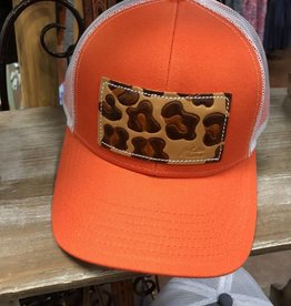 LEOPARD ORG/WHITE CAP HAT LEATHER PATCH HAND PAINTED MCINTIRE SADDLERY