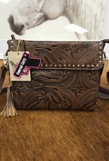 PURSE 3D TOOLED BROWN CONCEAL CARRY HB106BR