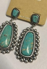 NATURAL STONE EARRING POST TUR