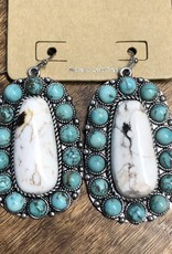 TURQUOISE BONE NATURAL STONE EARRING