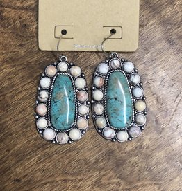 NATURAL STONE EARRING NATURAL AND TURQ