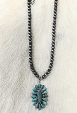 NATURAL STONE NECKLACE OVAL