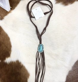 NATURAL STONE PENDANT NECKLACE SUEDE BRAID TASSEL