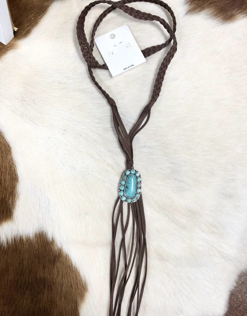 NECKLACE NATURAL STONE PENDANT NECKLACE SUEDE BRAID TASSEL