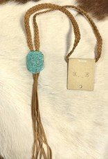 NECKLACE NATURAL STONE BOHO NECKLACE SUEDE BRAID TASSEL