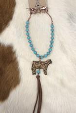 NECKLACE LEATHER COW PENDANT TURQ COPPER SET