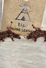 NECKLACE LEATHER PIG PENDANT TURQ COPPER SET