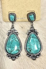 TURQ TEARDROP POST EARRING NATURAL STONE