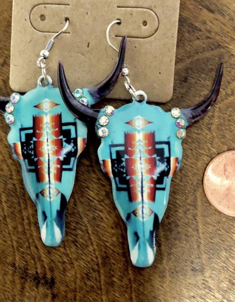 EARRING SKULL TURQ AZTEC METAL