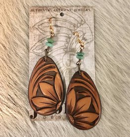 EARRING LEATHER TEARDROP TOOLED FLOWER W KINGSMAN TURQUOISE J. FORKS