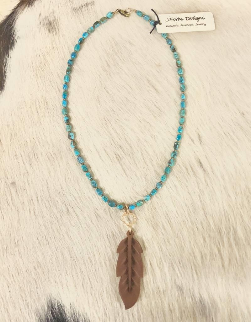 NECKLACE 15550 J. FORKS NECKLACE KINGSMAN TURQ LEATHER FEATHER