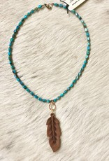 15550 J. FORKS NECKLACE KINGSMAN TURQ LEATHER FEATHER