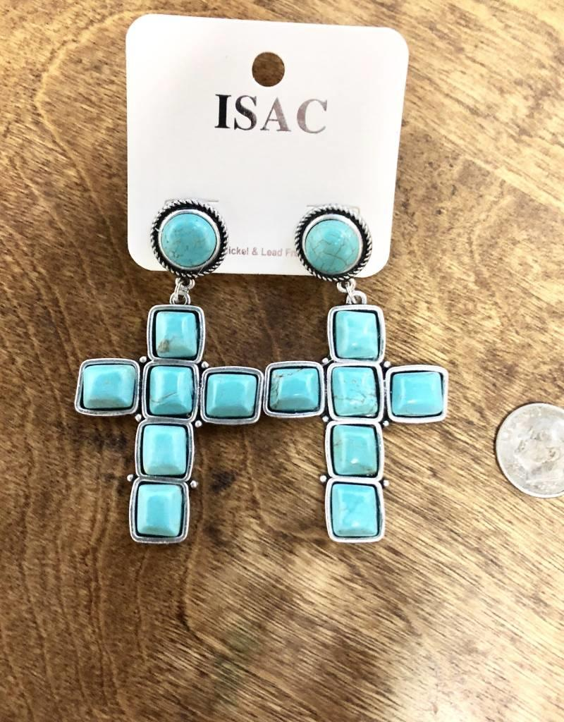 TURQ EARRING SQUARE CROSS ROUND POST NATURAL STONE