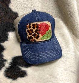 DENIM/TAN LEOPARD ROSE CAP-01