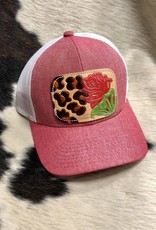 HAT HEATHER RED/WHT LEOPARD ROSE CAP-11
