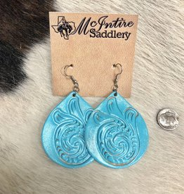 EARRING TOOLED BELL TURQUOISE