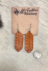 EARRING BAR ARROW NATURAL LEATHER
