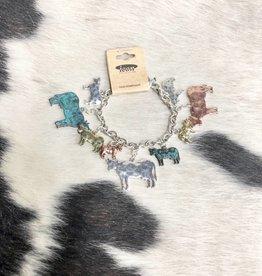 BRACELET CHARM COW MULTI METAL TOGGLE CLOSURE